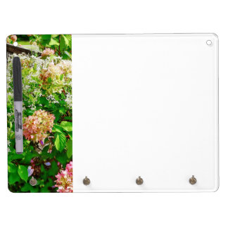 Sweet Autumn Clematis and Pink Hydrangea Dry Erase Board With Keychain Holder