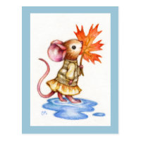 Sweet Autumn - Cute Mouse Art Postcard