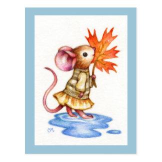 Sweet Autumn - Cute Mouse Art Postcard