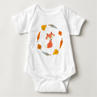 Sweet Autumn Leaves Fox Baby Bodysuit