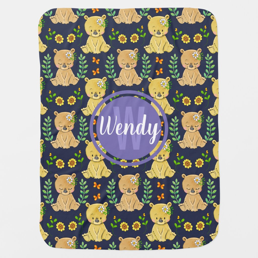 Sweet Baby Bears and Flowers Blue Monogram Baby Blanket