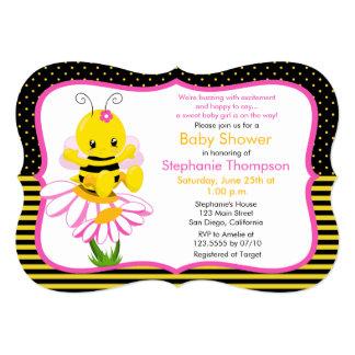 Sweet Baby Bee Girl Baby Shower Invitation