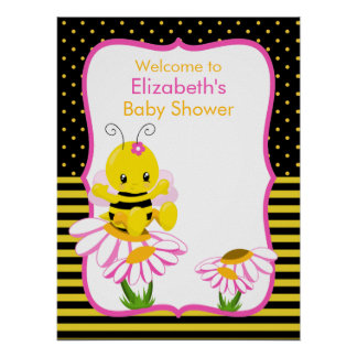Sweet Baby Bee Girl Baby Shower Poster