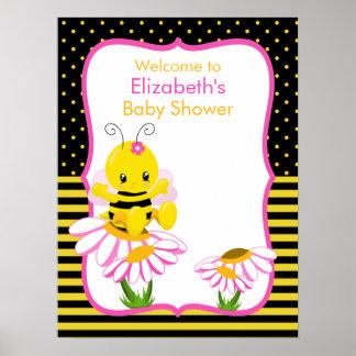 Sweet Baby Bee Girl Baby Shower Poster