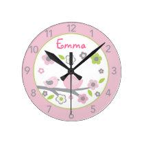 Sweet Baby Bird Personalized Nursery Wall Clock