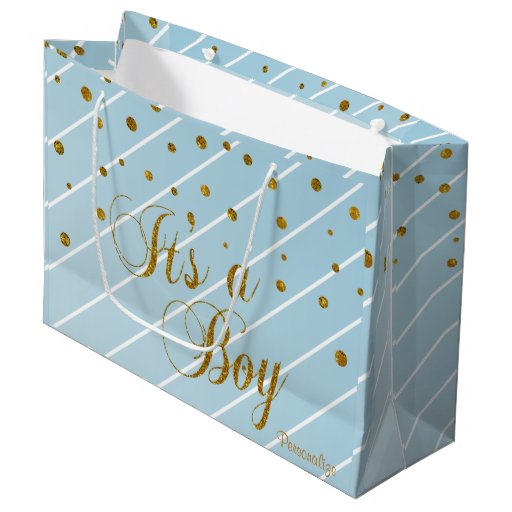 Sweet Baby Blue and Gold Confetti Large Gift Bag