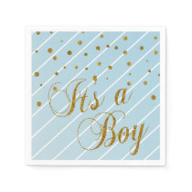 Sweet Baby Blue and Gold Confetti Paper Napkin