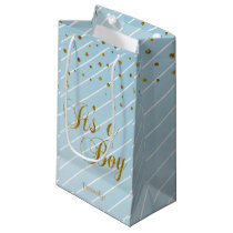 Sweet Baby Blue and Gold Confetti Small Gift Bag