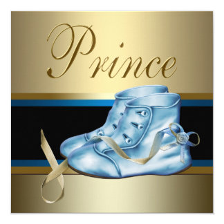 Sweet Baby Blue and Gold Prince Baby Shower Card