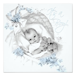 Sweet Baby Blue Bassinet Baby Shower Card