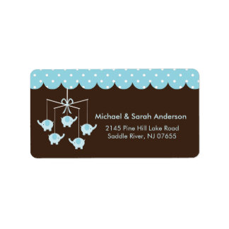 Sweet Baby Blue Elephant Mobile Address Label