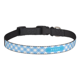 Sweet Baby Blue Gingham Custom Monogram Name Pet Collar