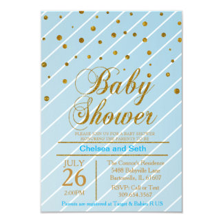 Sweet Baby Blue & Gold Confetti | Baby Shower Card