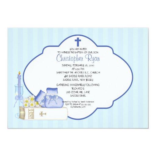 "Sweet Baby Boy Baptism Inviation 5"" X 7"" Invitation Card"