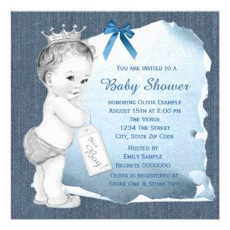 Sweet Baby Boy Blue Denim Baby Shower Invite