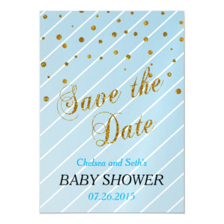Sweet Baby Boy Blue & Gold Confetti   Baby Shower Magnetic Card