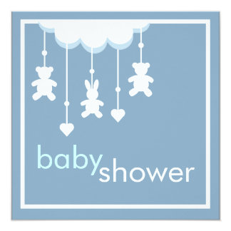 Sweet Baby Boy Blue Mobile Baby Shower Invitation