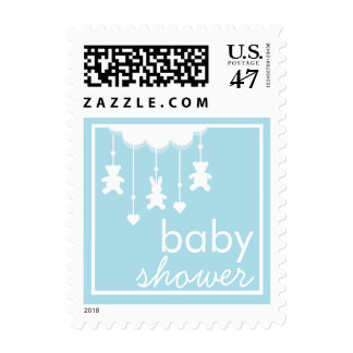 Sweet Baby Boy Blue Mobile Baby Shower Stamp