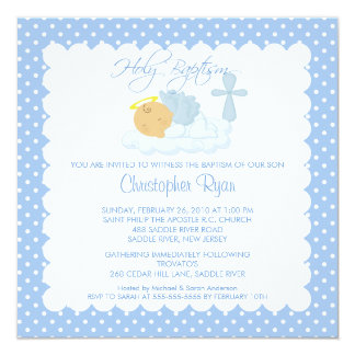 "Sweet Baby Boy & Cross Holy Baptism Inviation 5.25"" Square Invitation Card"