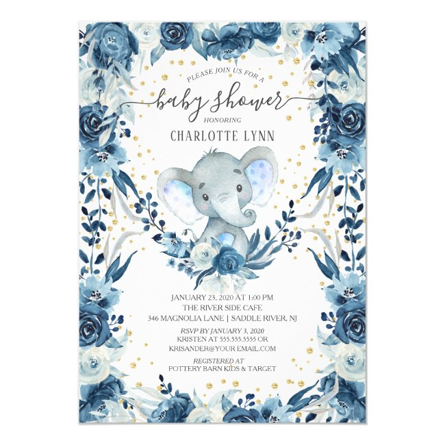 Sweet Baby Boy Elephant Baby Shower Invitation