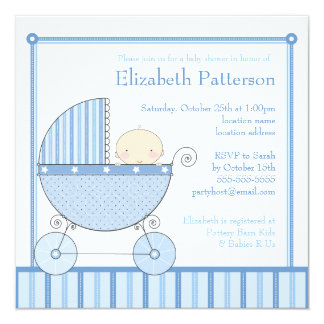 Sweet Baby Boy in Carriage Baby Shower in Blue Card