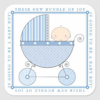 Sweet Baby Boy in Carriage Baby Shower in Blue Square Sticker