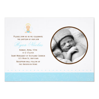 Sweet Baby Boy Photo Baptism Card