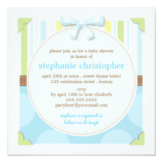Sweet Baby Boy Stripes & Polka Dot Baby Shower 5.25x5.25 Square Paper Invitation Card