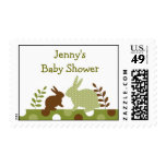 Sweet Baby Bunny Green Postage Stamps