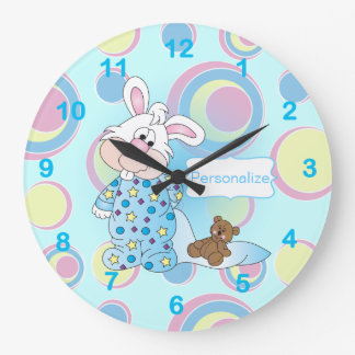 Sweet Baby Bunny in Blue Dots Large Clock