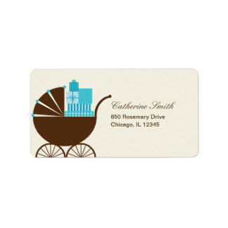 Sweet Baby Carriage Address Label - Blue Labels