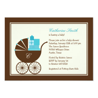 Sweet Baby Carriage Baby Shower Invitation - Blue