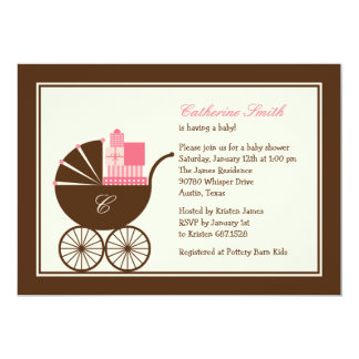 Sweet Baby Carriage Baby Shower Invitation - Pink