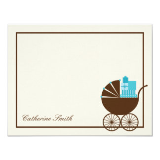 Sweet Baby Carriage Baby Thank You Card - Blue Personalized Announcement