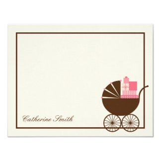 Sweet Baby Carriage Baby Thank You Card - Pink Personalized Invite