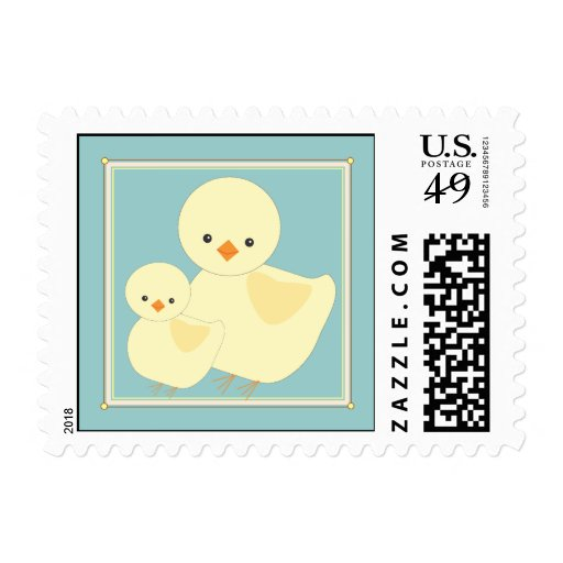 Sweet Baby Chick with Mama Postage