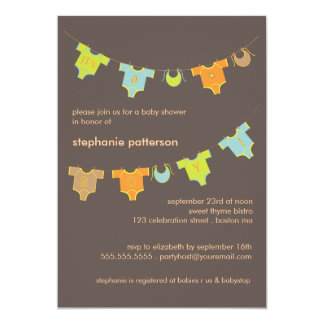 Sweet Baby Clothes LIne It's a Boy Baby Shower 5x7 Paper Invitation Card