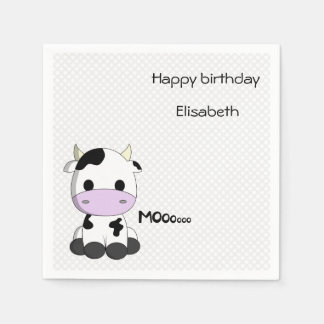 Sweet baby cow on polka dots girl birthday paper napkin
