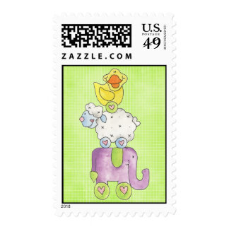 Sweet Baby Duck Toy Stack Postage Stamp