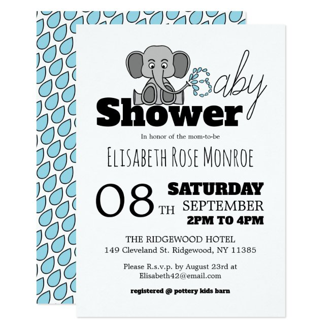Sweet Baby Elephant, Baby Shower Invitation