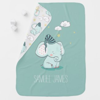 Sweet Baby Elephant Custom Decorative Nursery Baby Blanket
