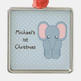 Sweet Baby Elephant Metal Ornament