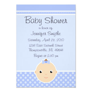 Sweet Baby Face Blue Baby Shower Invitations