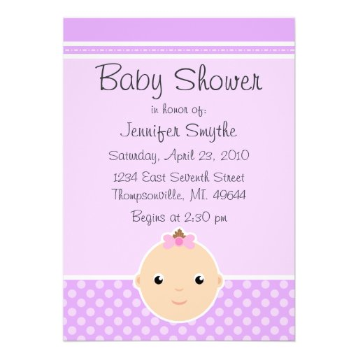 sweet baby face purple baby shower invitations zazzle