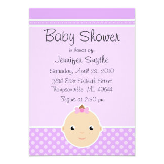 Sweet Baby Face Purple Baby Shower Invitations