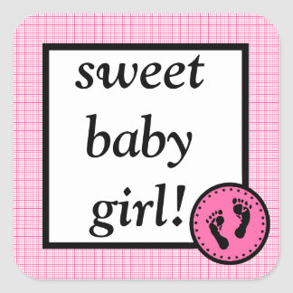 Sweet Baby & Footprints-Raspberry Square Sticker