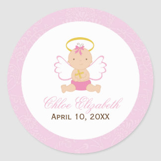 Sweet Baby Girl Baptism Classic Round Sticker