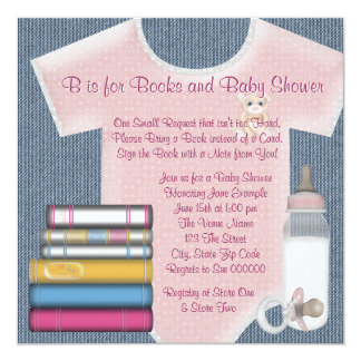 Sweet Baby Girl Bring A Book Baby Shower Card
