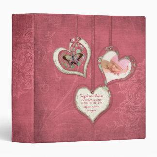 Sweet Baby Girl Butterfly Heart Vintage Floral Art Binders