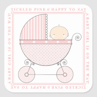 Sweet Baby Girl Carriage Baby Shower in Pink Square Sticker